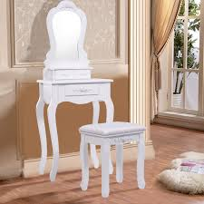 Walmart Dressers With Mirror by Costway White Vanity Jewelry Makeup Dressing Table Set W Stool