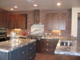 Kitchen Theme Ideas Red by Red Brick Backsplash With White Border For Large Modern Kitchen