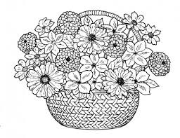 Flower Bouquet In A Traditional Basket Coloring Pages