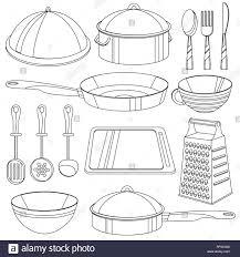 Ustensiles De Cuisine à Colorier Vector Illustration Pour Les