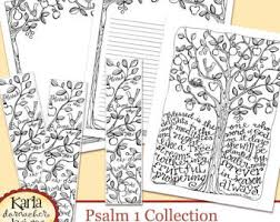 Psalm 1 Be Like A Tree Bible Journaling Color Your Own INSTANT DOWNLOAD Art