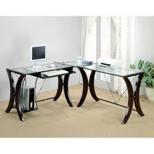 l shape glass panel computer desk unit