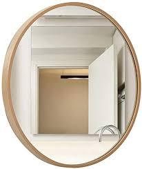 de rund wandbehang spiegel holzrahmen wohnzimmer