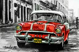 Old Car Cuba Drawing With Pen And Ink