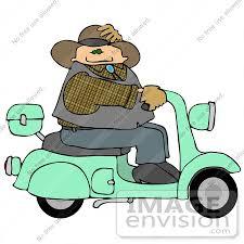 15813 Caucasian Cowboy Man Riding A Green Motor Scooter Clipart By DJArt