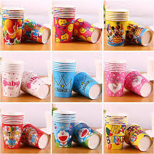 Cartoon Art Color Paper Cup Children Birthday Party Decoration 9oz Disposable Coffee Promotion DHL Club Supplies Drinking