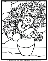Coloring Sunflower Pages Van Sunflowers Page Simple Pictures