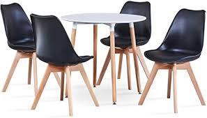 benyled runder esstisch und 4 stühle moderner küchentisch und gepolsterte stühle esszimmer set möbel für zuhause büro küche balkon weiß
