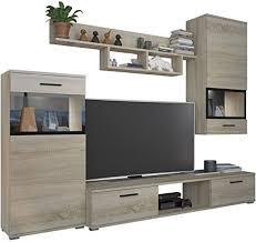 wohnwand blues modernes anbauwand inkl tv lowboard 2 vitrine wandregal design mediawand sonoma eiche mit beleuchtung