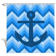 Blue Chevron Bathroom Set by Nautical Chevron Shower Curtain Shower Curtain By Anchor And