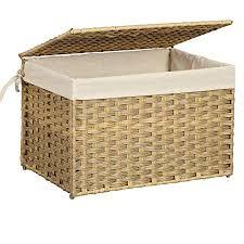 songmics aufbewahrungsbox aus polyrattan aufbewahrungskorb 65 l wäschekorb dekorative truhe mit deckel griffen und baumwollsack rechteckig