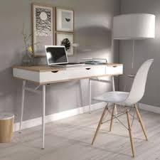 bureau chene clair no name bureau bari blanc et chêne blanchi pas cher achat