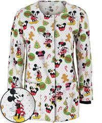 Ceil Blue Print Scrub Jackets by Cherokee Tooniforms Floralista Mickey Print Scrub Jacket Scrubs