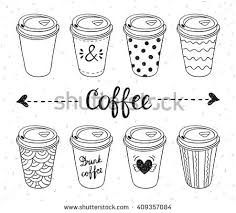 Coffee To Go Paper Cups Hand Drawn Vector Illustration Hot Drinks Take Away Concept