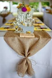 A Burlap Table Runner For Rustic Wedding With Simple Decorations