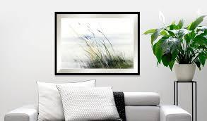 blaues gemälde subtiles motiv fürs wohnzimmer und schlafzimmer gräser wasserserie
