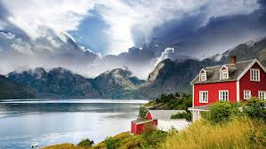 100 Houses In Norway Wallpaper Mountains Sea Town Bay Houses