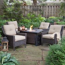 Patio Furniture Conversation Sets With Fire Pit by Belham Living Springfield Wicker Chat Set With Florentine Fire Pit