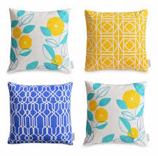 4 X Geometric Floral Waterproof Outdoor Cushion Covers