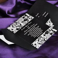 Cheap Vintage Style Black And White Pocket Wedding Invitations With Free Response Card EWPI019