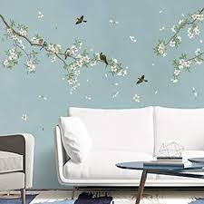 decalmile wandtattoo vögel auf baum ast wandsticker blumen weiß wandaufkleber wohnzimmer schlafzimmer sofa hintergrund wanddeko