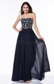 navy blue a line strapless chiffon rhinestone plus size prom