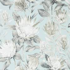 100 Flannel Flower Glass Sanderson King Protea AquaLinen Wallpaper 216645