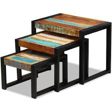 Solid Reclaimed Wood Nesting Tables (Set Of 3) Nesting Tables Set Of 2 Havsta Gray Josef Albers Tables 4 Pavilion Round Set Zib Gray Piece Oslo Retail 3 Modern Reflections In Blackgold Two Natural Pine And Grey Zoa Nesting Tables Set Of Lack Black White Contemporary Solid Wood Maitland Smith Faux Bamboo