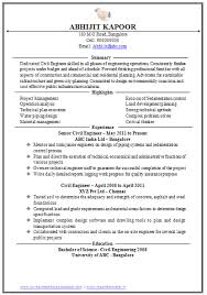 Professional Curriculum Vitae Resume Template For All Job Seekers Sample Of A Excellent One Page Civil Engineer Executive With Work