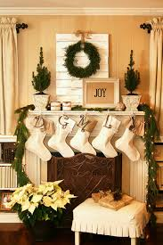Feasible Christmas Themed Fireplace Mantel Decorating Ideas Joyful And With Stocking Also