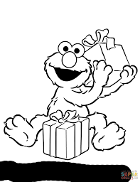 Coloring Pages Printables Free Elmo Opening Birthday Presents