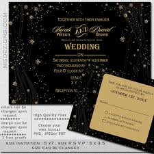 Printable Gold Snowflake Elegant Lavish Black And Rustic Winter Wedding Invitations Template Affordable