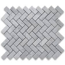 Casa Antica Tile Marble by Carrara White Italian Carrera Marble Herringbone Mosaic Tile 1 X 2