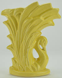 McCoy Art Pottery Yellow Swan Vase Vintage Collectible 9 5