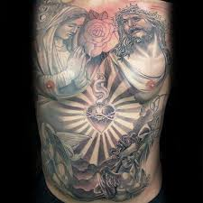 Mens Full Chest Jesus And Mary Tattoo With Heart Design