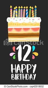 happy birthday kuchen karte für 12 zwölf jahre