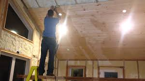 Insulated Cathedral Ceiling Panels by How To Install Tongue And Groove On Ceiling With No Help Youtube