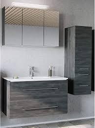 lomadox badezimmer badmöbel set in graphit struktur 100cm keramik waschtisch led spiegelschrank midischrank