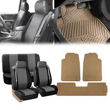 100 Truck Seat Covers BESTFH Black Gray Integrated Belt SUV With
