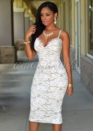 chic couture online mariska off white lace illusion midi