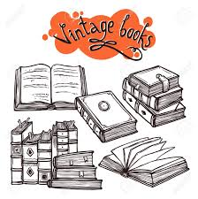 Vintage Books Sketch Decorative Set Black And White Vector Illustration Stock