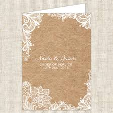 Rustic Wedding Lace Order Of Service Booklet
