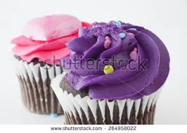 Pair of chocolate cupcakes with purple and pink frosting