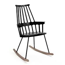 Kartell - Comback Rocking Chair, Black Isla Wingback Rocking Chair Taupe Black Legs Safavieh Outdoor Living Vernon White Rar Eames Colby Avalanche Patio Faux Wood Rapson Amazoncom Adults For Heavy People Clips Monet Rattan Rocking Chair Base Pp Ginger