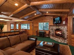 Surprising Rustic Log Cabin Living Room Decorate With Stoned Fireplace Under Tv Wall Face To The Brown Seating Area
