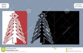 Laser Cut Out Christmas Card Template Die Paper With Pattern Of Tree Cutout Gate Fold For Cutting Or