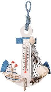 vosarea thermometer holz anker deko maritime dekoration