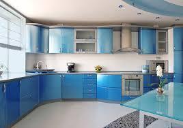 Blue Modern Kitchen With White Tile Back Splash
