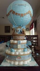Charming Decoration Diaper Cake Images Valuable Idea Baby Shower Boy Hot Air Balloon Pinterest