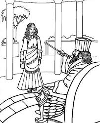 Print King Ahasuerus And Queen Esther Colouring Page In Full Size